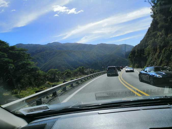 View through front windscreen while driving over Remutaka Ranges