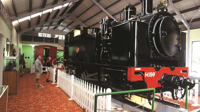 a steam locomotive inside the Fell Engine Museum in Featherston