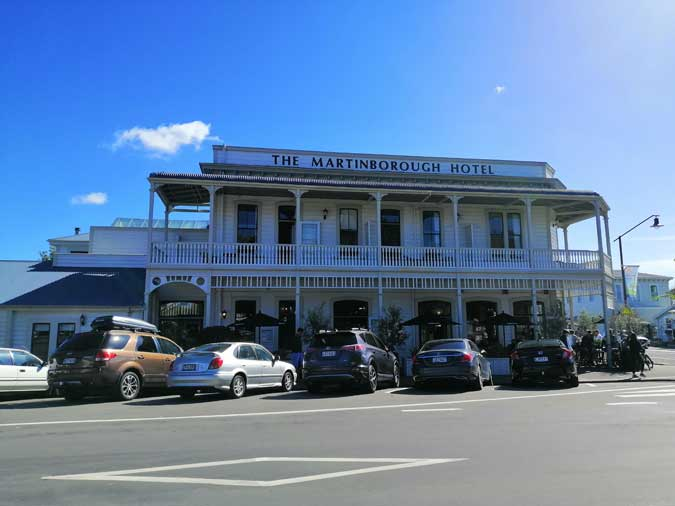 view of the Martinborough Hotel from the town square