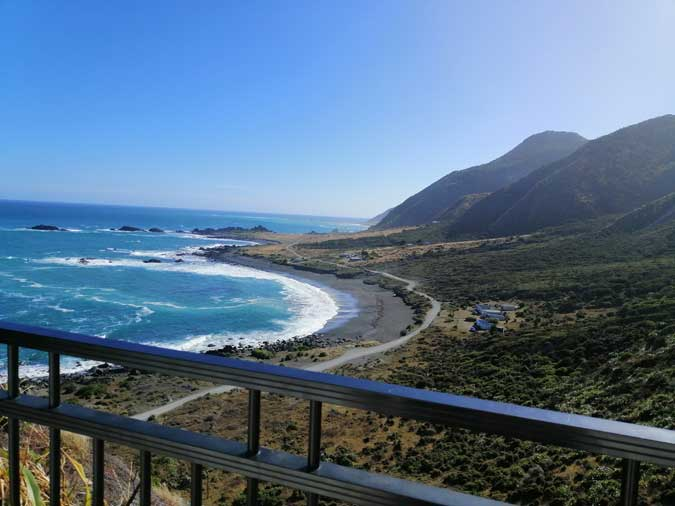 view up the Wairarapa coast from the Cape Palliser lighthouse