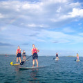 Group of tourists paddleboarding with Auckland's Mission Bay Watersports.